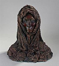 Ethiopian plaster bust, of a lady with flowing headdress, 45cm high