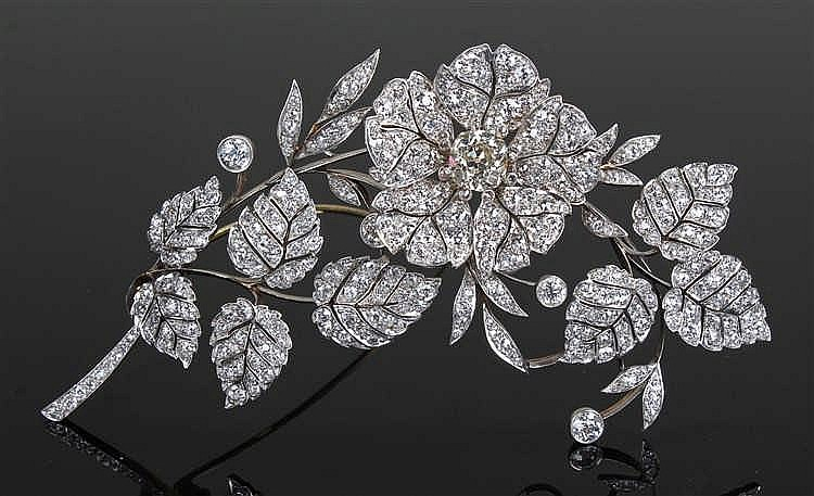Impressive and large diamond flower brooch, the brooch set with diamonds to