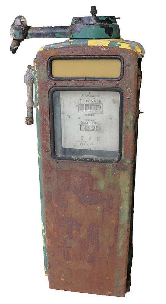 Beckmeter fuel pump, with dials to opoosing sides, together with an Esso fu