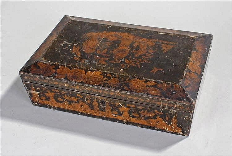 Regency pen and ink work box, the rectangular box with angled edges, decora