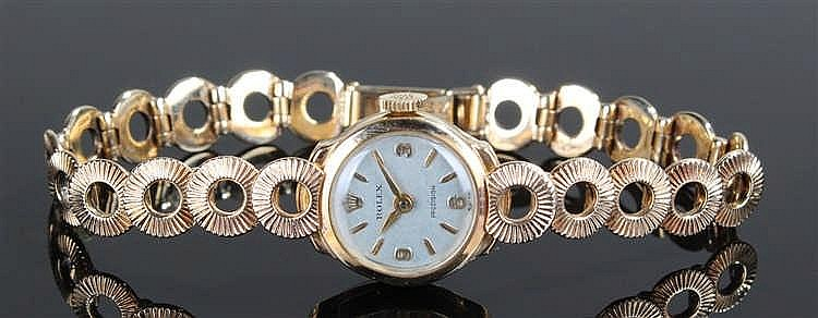 Rolex ladies 9 carat gold wristwatch, the signed silvered dial with baton a