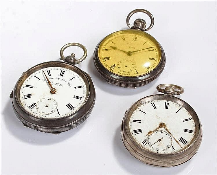 Three silver open face pocket watches, to include a Smiths example an unsig