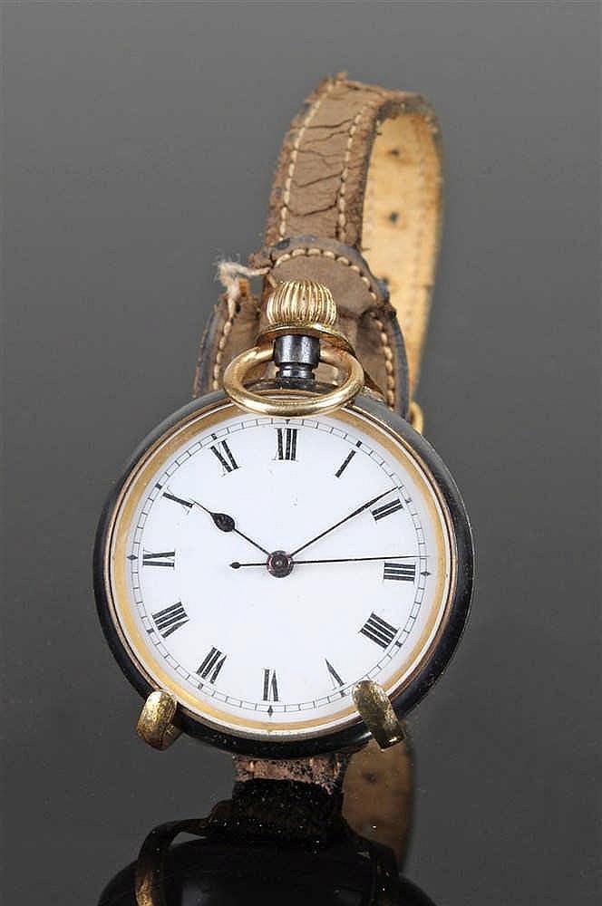 Gun metal open face pocket watch, the white enamel dial with black Roman ho