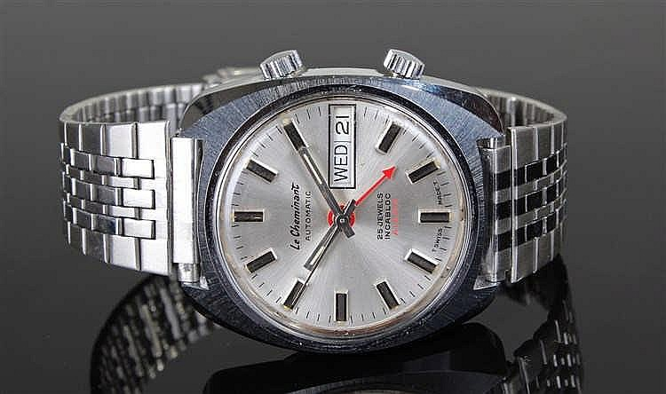 Le Cheminant Automatic Alarm stainless steel gentleman's wristwatch, the si