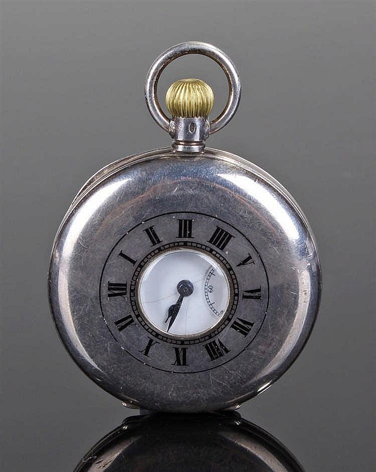 Silver half hunter pocket watch, the case with an outer blue enamel dial en