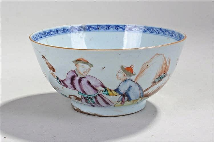 18th Century Chinese porcelain bowl, decorated in polychrome enamels with a