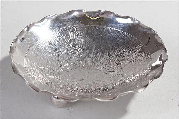 Wai Kee Sterling silver pin tray, Made in Hong Kong, the dish with engraved