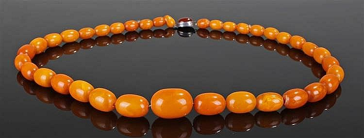 Butterscotch amber necklace, the amber necklace with tapering beads and cla