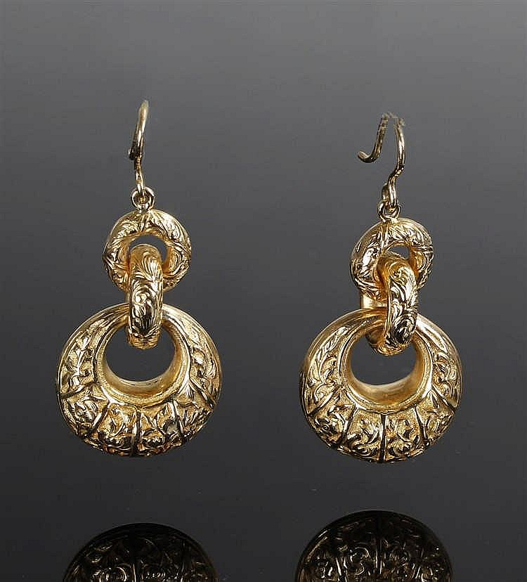 Unusual pair of Chinese gold earrings, the loop earrings with character mar