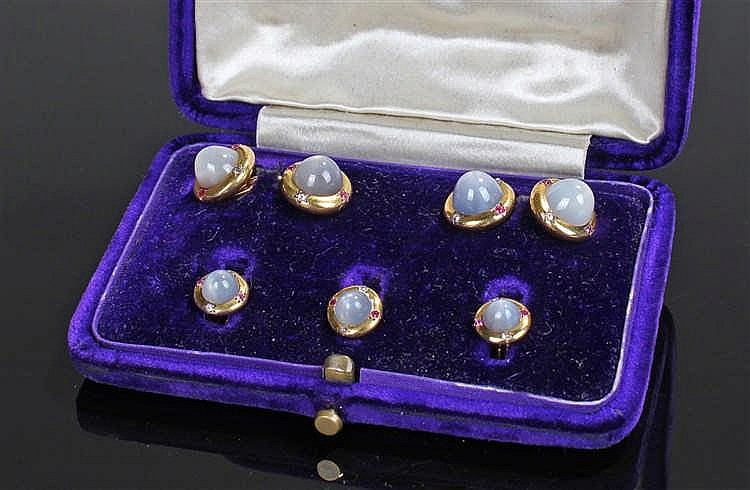 Star sapphire cufflink and button set, the star sapphires at approximetley