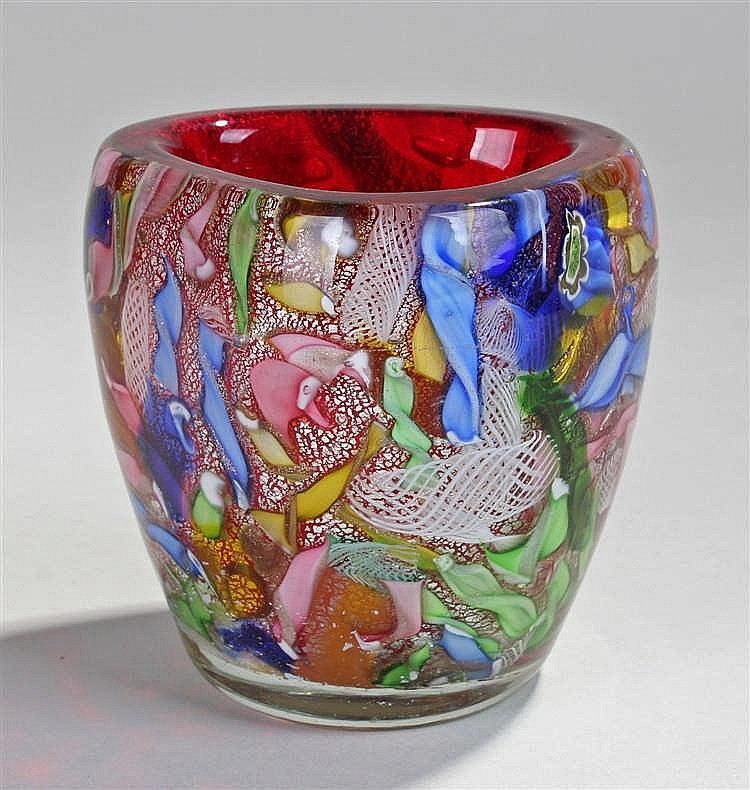 Avem Zanfirico 'Tutti Frutti' vase, the millefiori vase with internal red g