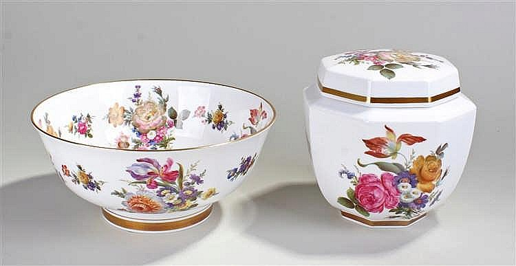 Caverswall handpainted porcelain bowl, decorated with floral sprays to both