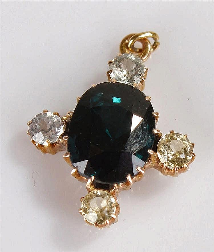 Sapphire pendant, the central sapphire with four cubic zirconia, 18mm high