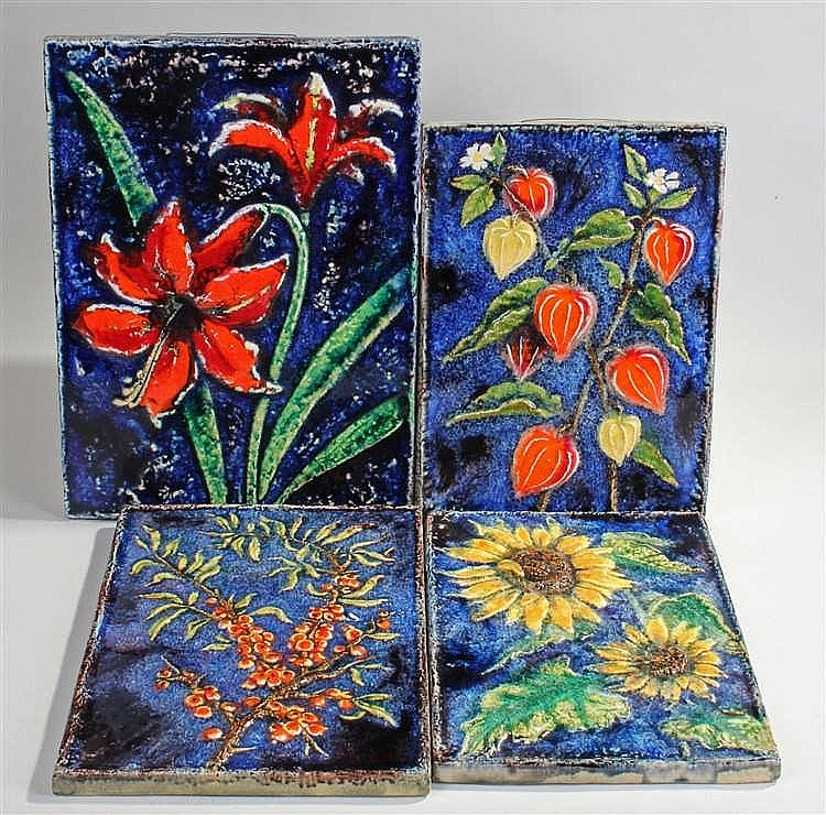 Set of Four Karlsruhe pottery tiles, to include Amaryllis No 7248, 41cm hig