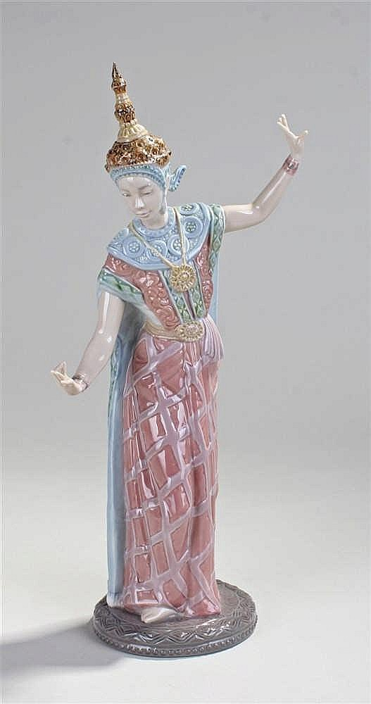 Lladro figure of a Siamese dancer, model number 5593, 33cm in height