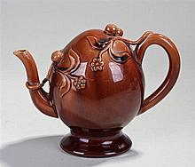 19th Century Spode 'Cadogan' teapot, the brown glaze formed in the Chinese