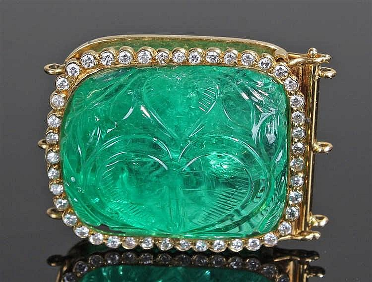 Impressive carved Colombian emerald clasp, the Colombian emerald at 34 cara