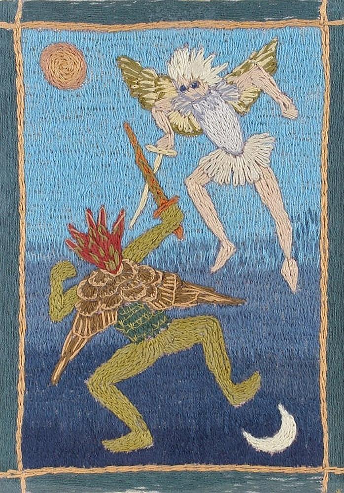 Merula Salaman embroidery, St Michael & Lucifer, 19.5cm x 27cm