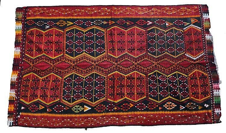 Large South West Persian rug, with two rows of geometric medallions, a brow