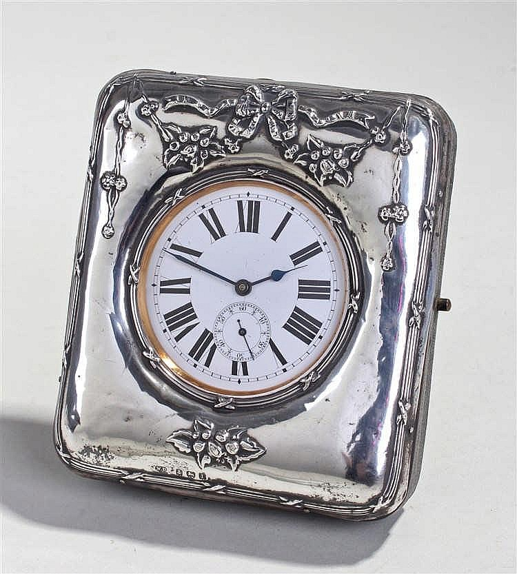 George V silver easel travelling watch stand, Birmingham 1910, William Deve