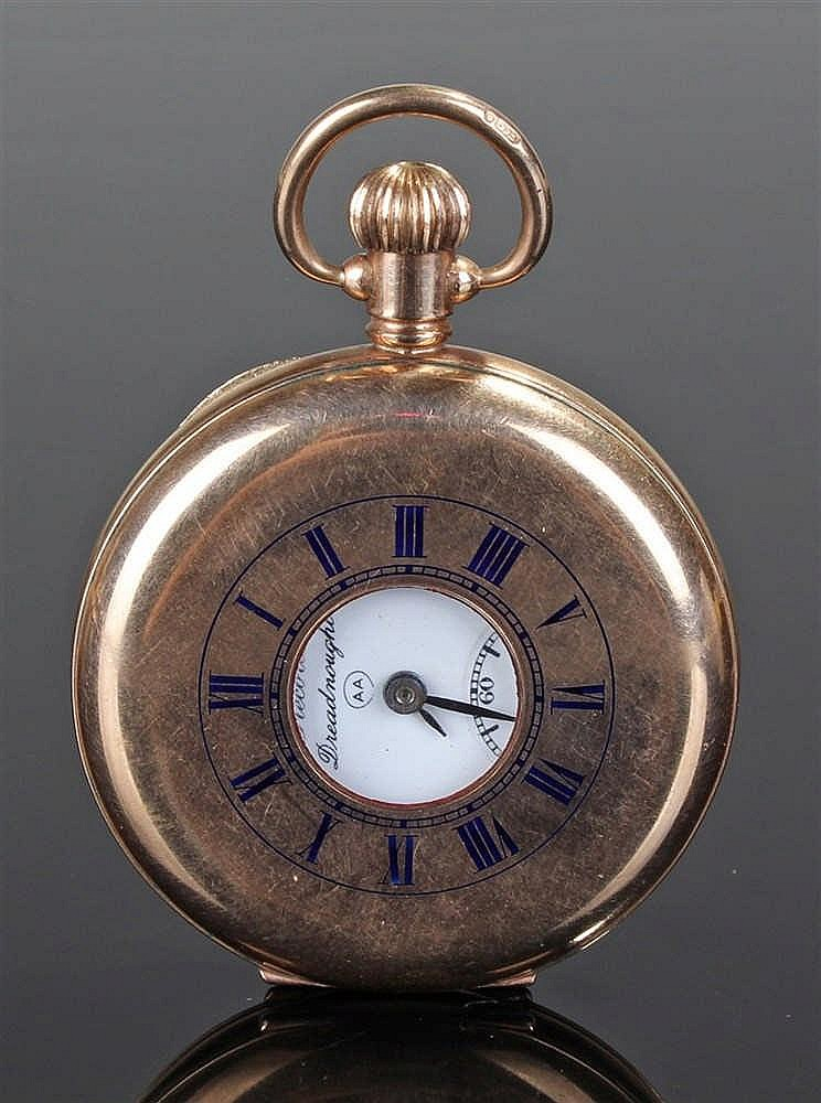 Record Dreadnought 9 carat gold half hunter pocket watch, the central apert