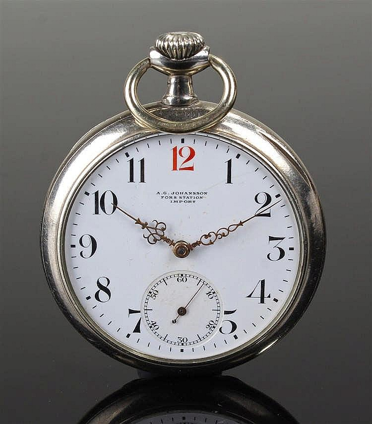 Omega open face silver plated pocket watch, the white enamel dial with reta
