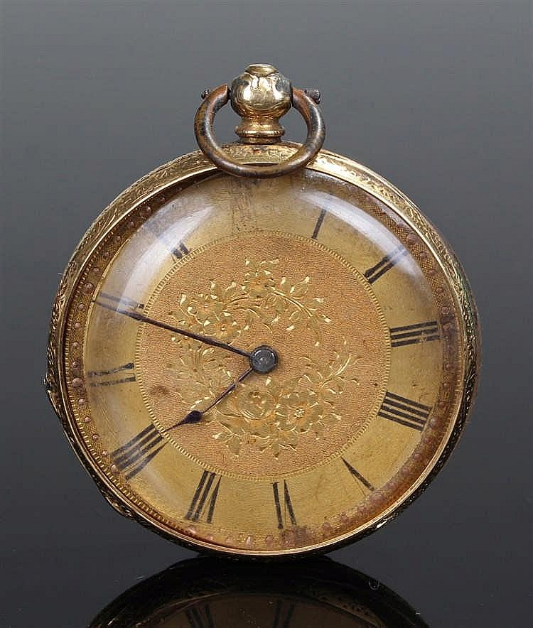 Victorian 18 carat gold open face pocket watch, the gilt dial with Roman ho