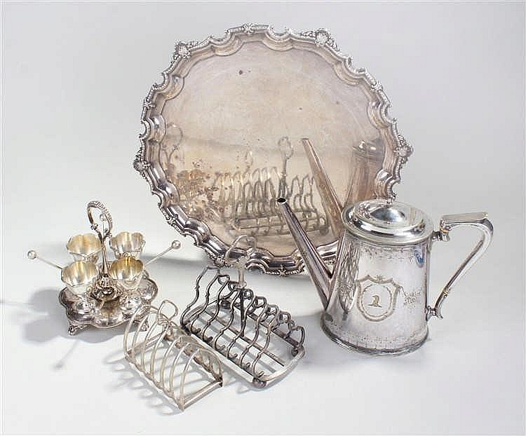 Quantity of silver plate to include coffee pot, two toast racks, four egg c