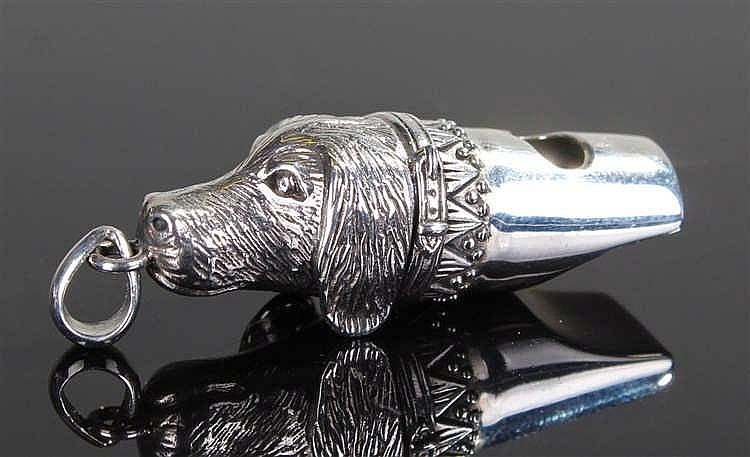 Silver Whistle in the form of a Dog Head