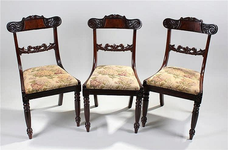 Set of five William IV mahogany dining chairs, the bar backs with scroll en