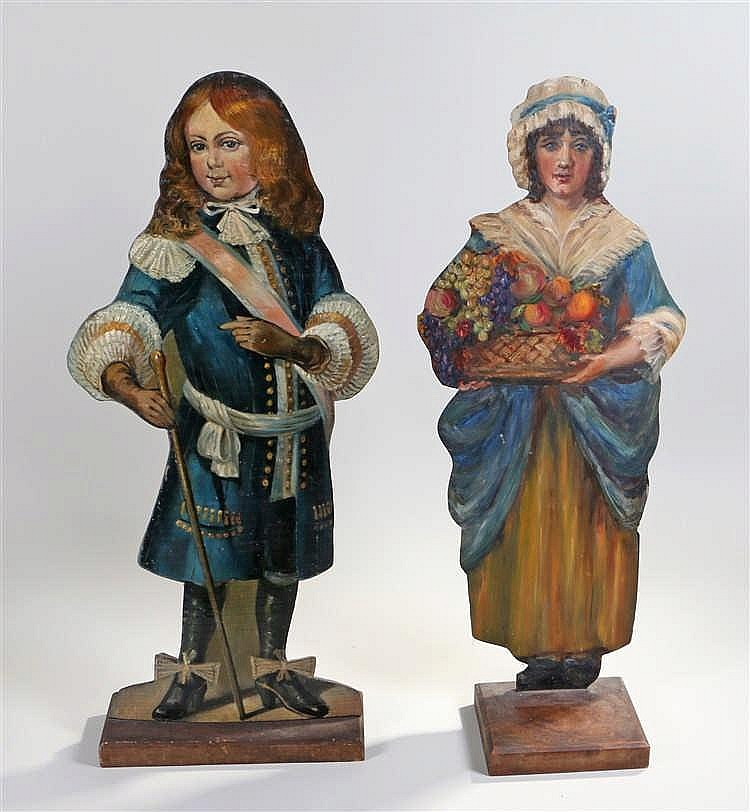 Two Victorian dummy boards, hand decorated in oil paint on exceptionally th