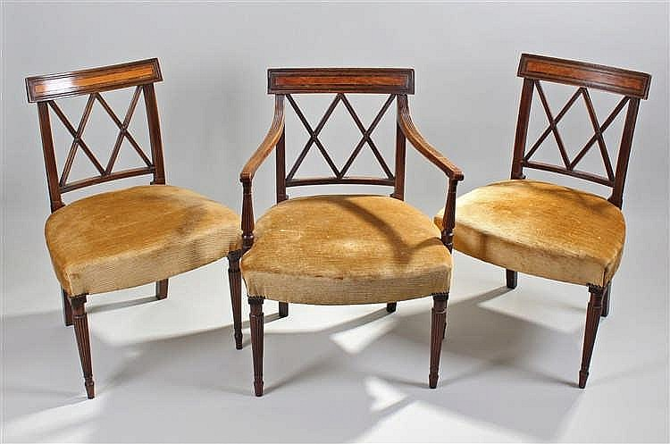 Set of eight George III mahogany dining chairs, the bar backs with cross sp