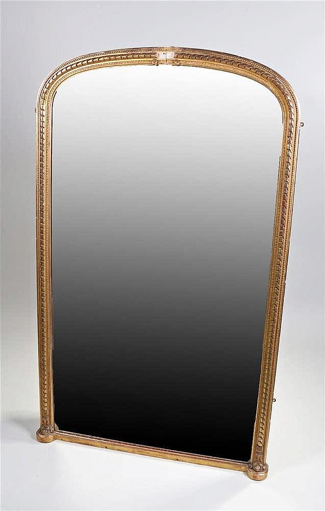 19th Century gilt wood, over mantle, mirror, the rectangular mirror plate w