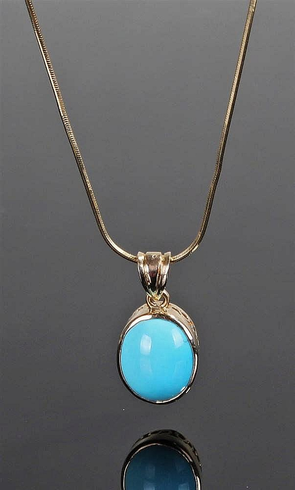 18 carat gold and turquoise pendant, the oval turquoise pendant with 18 car
