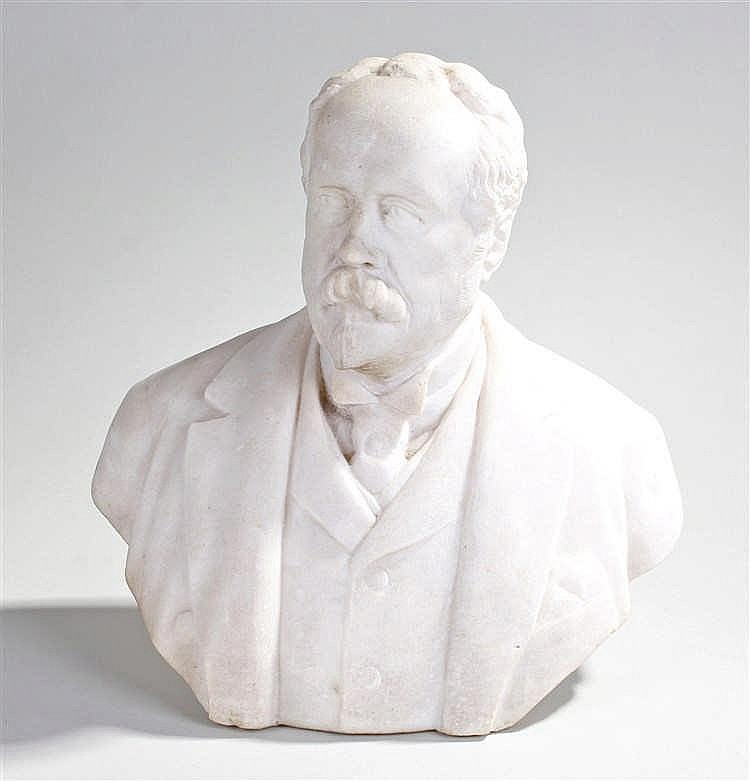 Victorian marble bust, of a gentleman in a jacket, 33cm high