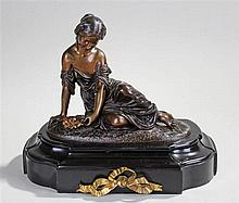 Hippolyte Francois Moreau, French (1832-1927) Bronze figure of a reclining