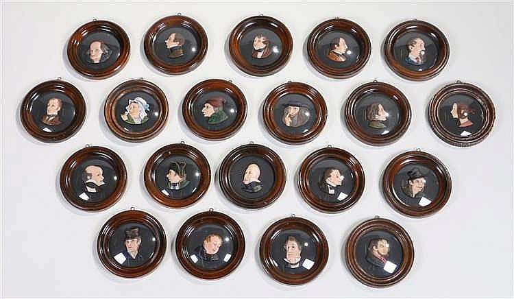 Collection of Charles Dickens wax portraits, to include Charles Dickens, Ch