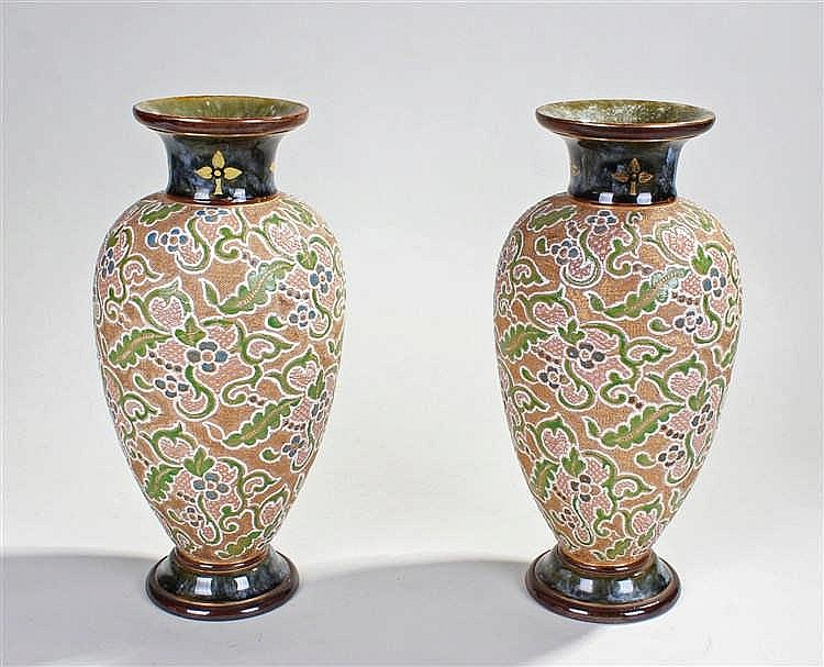 Pair or Doulton Slaters patent vases, decorated with a blue and gilt collar