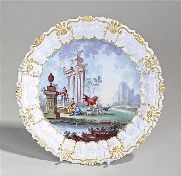 18th Century enamel dish, the dish with a gilt and white border, a polychro