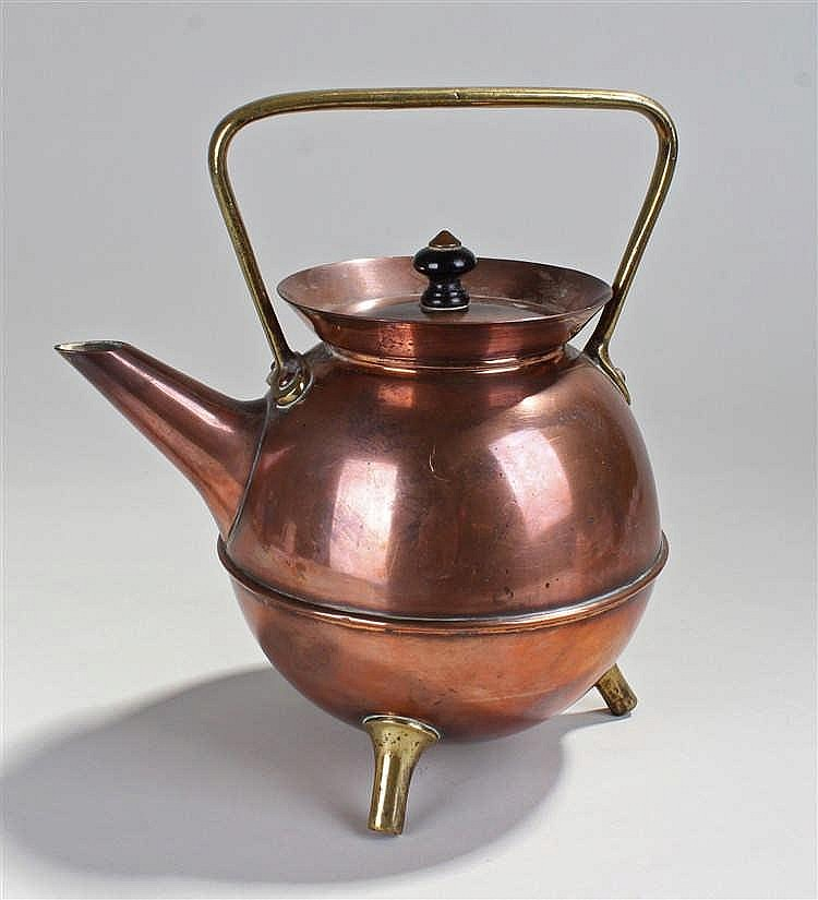 Christopher Dresser for Benham & Froud, a copper and brass kettle, the glob