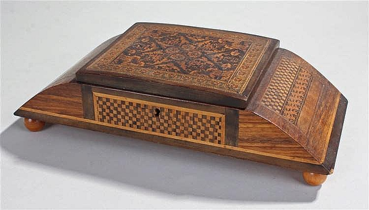 Tunbridge ware musical jewellery box, the hinged foliate Tunbridge ware lid