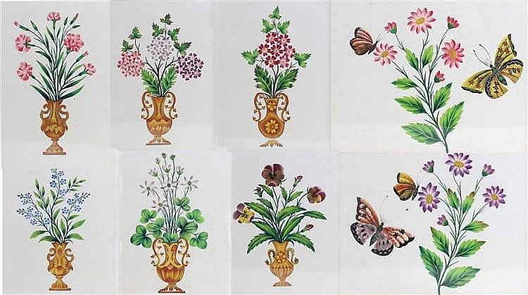 Set of eight 19th Century watercolours, of flowers and butterflies, circa 1