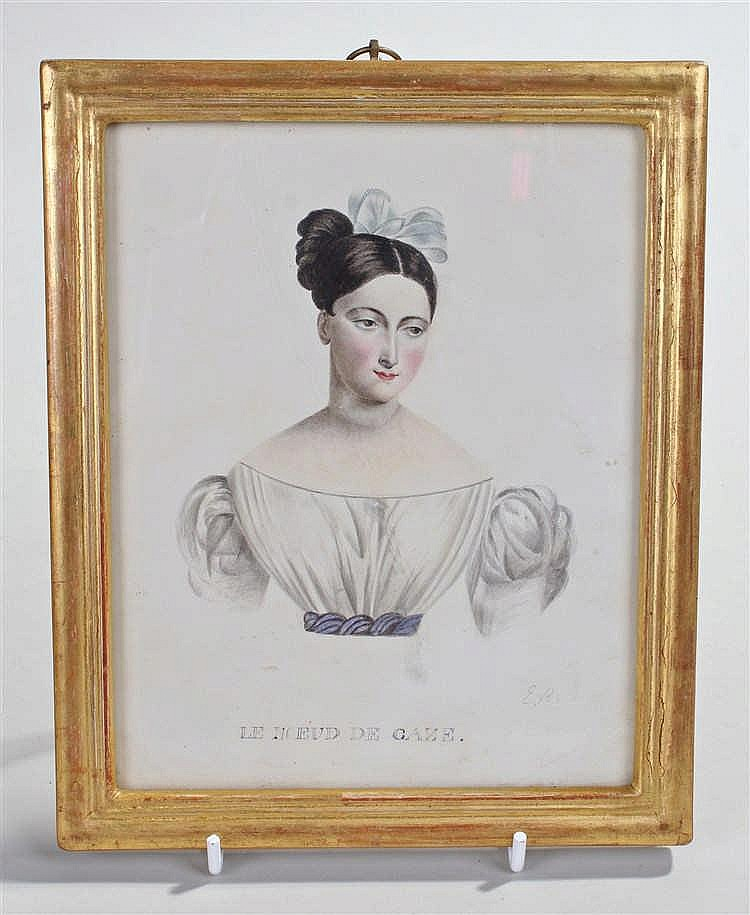 French School, an early 19th Century portrait of a woman the text