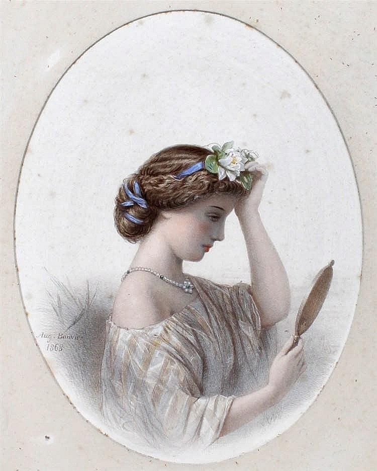 Augustus Jules Bouvier, (1827-1881) A lady looking into a mirror, pencil, s