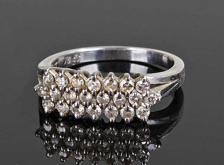 18 carat gold diamond set cluster ring, the ring with twenty two diamonds s