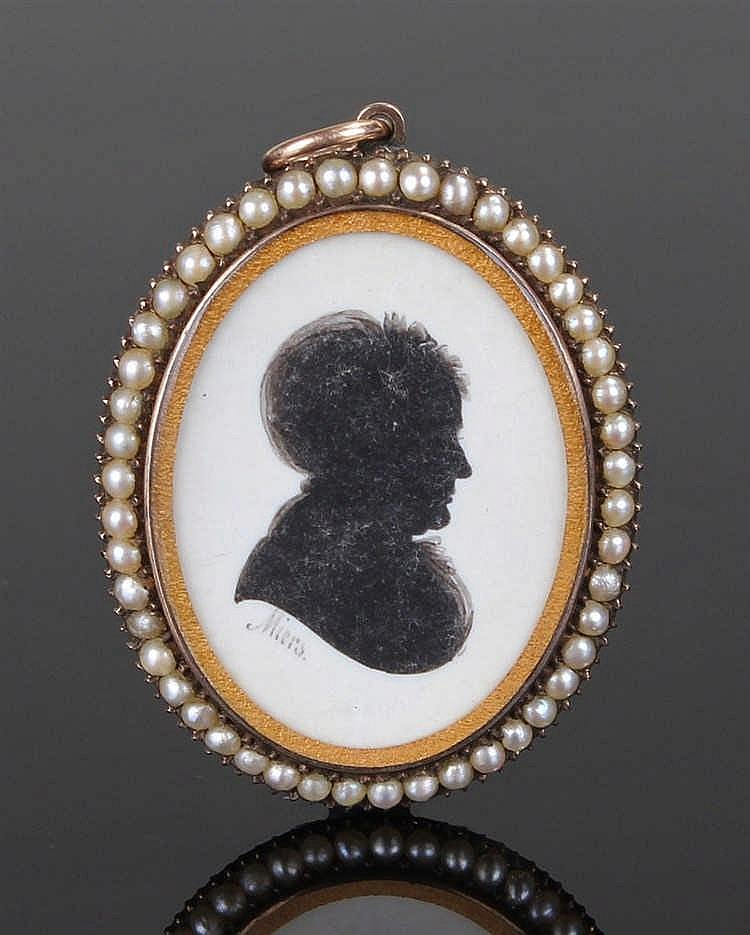 Fine George III John Miers silhouette, of a lady, signed Miers, cased withi
