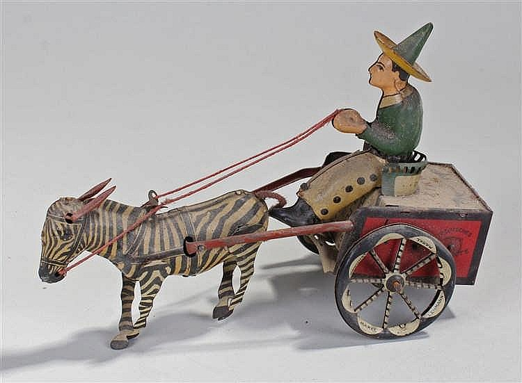 Lehmann, Germany Zikra No.752 clockwork Zebra and Cart, comprising of red a