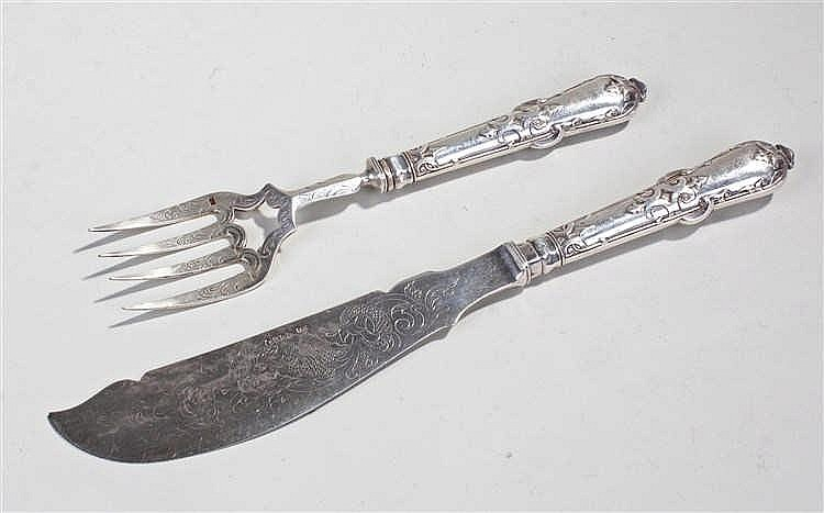 Victorian silver fish servers, the handles marked London 1851 and the blade
