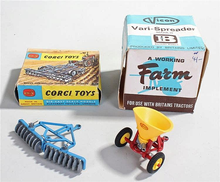 Corgi Toys, No 71 Wheel controlled tandem disc harrow, together with  Brita
