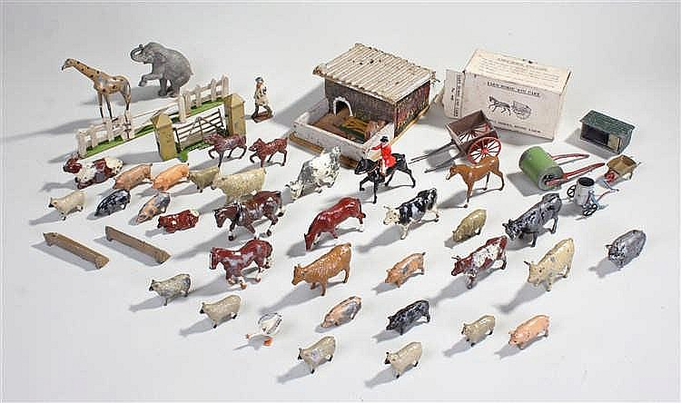 Farming related toys,to include Britains, a pen, fences, wagons, also inclu